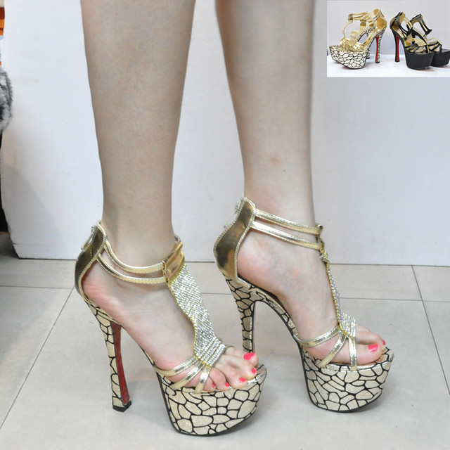 Ultra high heels rhinestone thick heel sandals serpentine pattern leg lacing platform black gold sexy formal dress shoes 16cm