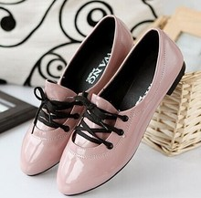 free shipping new arrival women casual single shoes fashion flats girls leisure japanned leather shoes work shoes woman(China (Mainland))