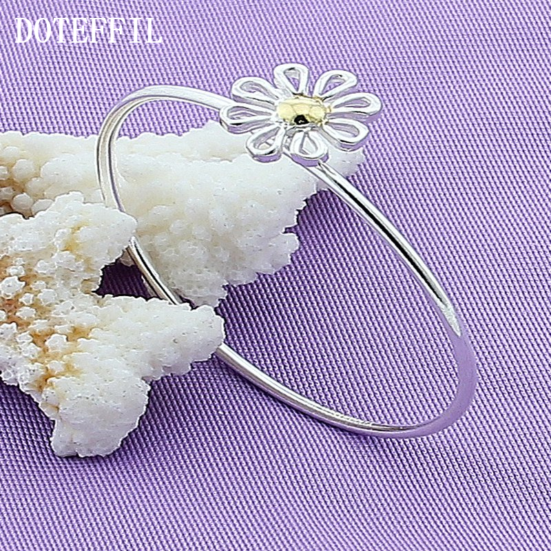 Factory Price New Zrrival 925 Silver Fine Jewelry Low Price Color Daisy Bangles For Girls Fashion Bangle(China (Mainland))