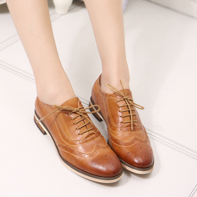 women's genuine leather flats shoes lace-up wax skin female bullock shoes lady flats oxford shoes  for women casual shoes A068-1