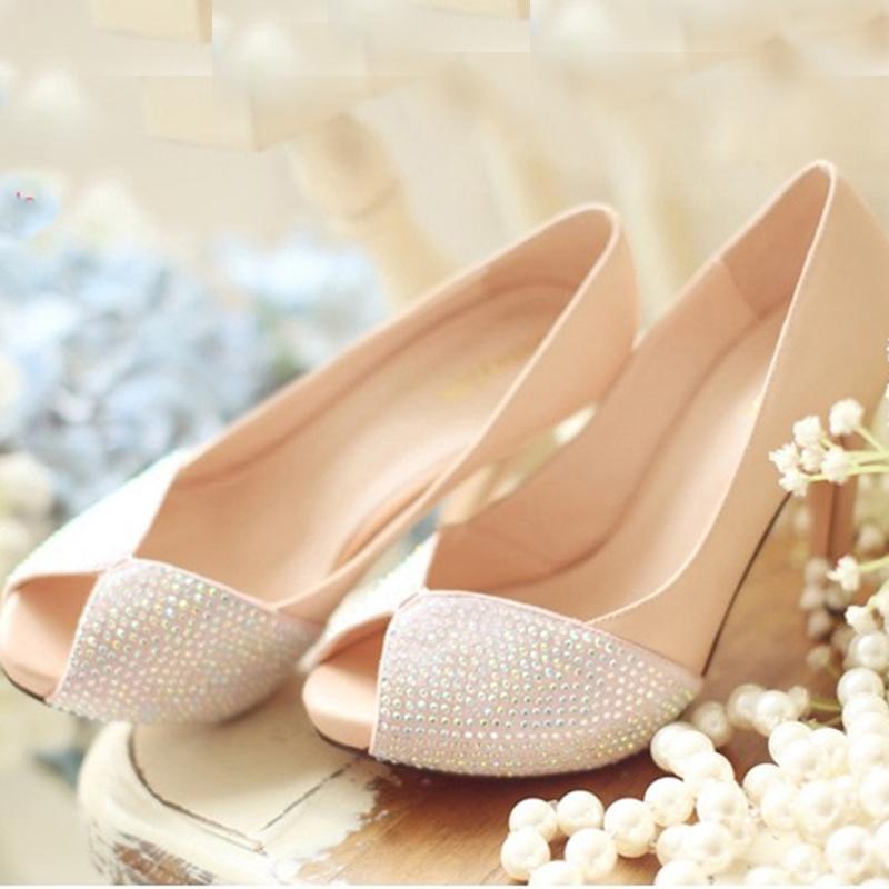 2015 Lastest Peep Toe Fashion Dress Shoes Spring High Heel Office Lady Shoes Wedding Dress Shoes Graduation Party Prom Shoes(China (Mainland))