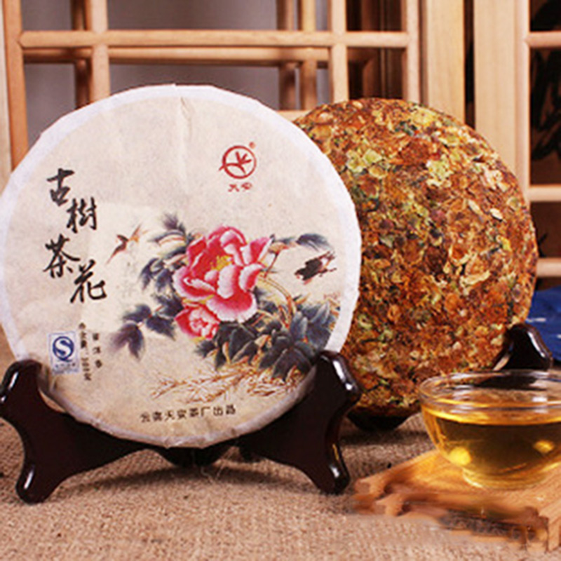 Flower puer tea Camellia Puerh 200g Compressed tea Aged tea tree flower leaf Chinese pu er