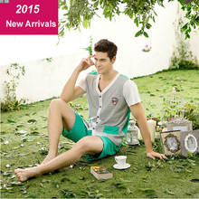 2015 Brand New High Quality 100% Cotton Pajamas for Men Sleepwear Clothing Set Summer Pajama Men  Sale Free Delivery(China (Mainland))