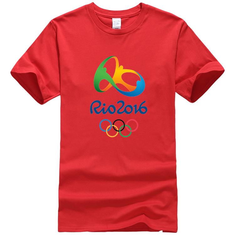 red color Rio Olympic t-shirts mens basketball hip hop jerseys menfashion 2016 t shirts nasa gym shark rio style vetement homme(China (Mainland))