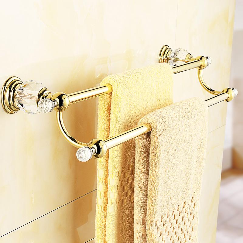 "Gold European Style Crystal Brass Towel Bar Wall Mounted Towel Rail Double Bathroom Towel Holder Bathroom Accessories 22.44""(China (Mainland))"