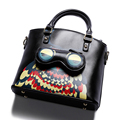Adorable Cartoon Print Shoulder Bag Women Designer All match Handbag Stylish Owl Cross Print Ladies Shoulder