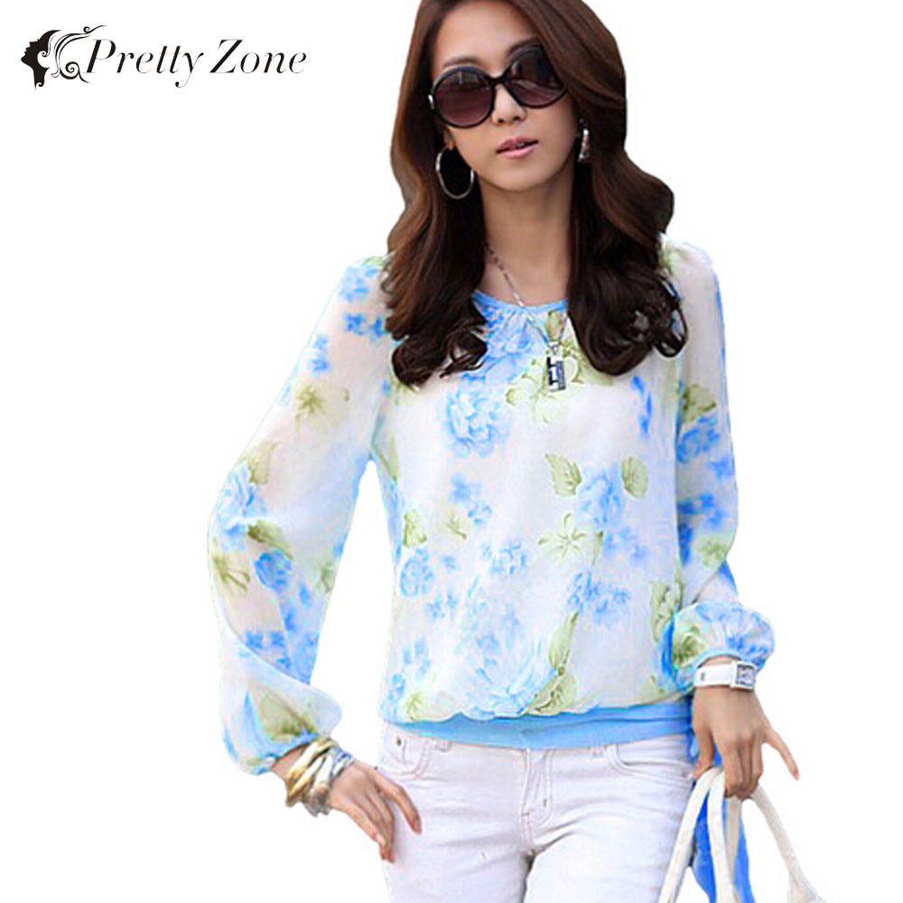 New Arrival Fashion Chiffon Blouse Women Floral Print Long Sleeve Shirt Blouse Top Top Quality Ladies Blouses Casual Red Blue(China (Mainland))