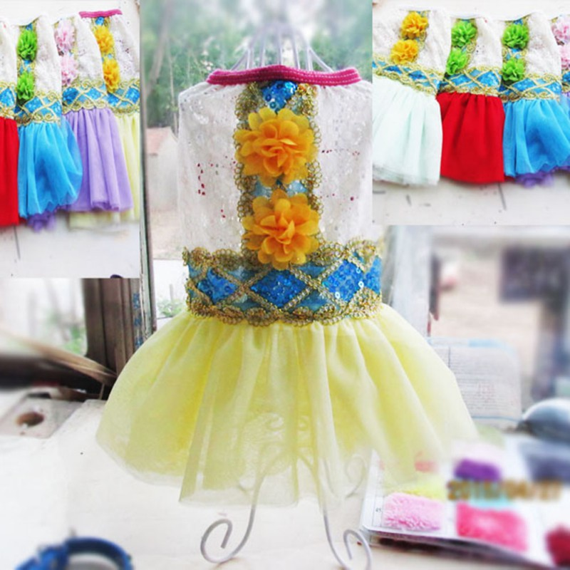 Dog Vest Dress Pet Puppy Hollow Lace Flower Sequin Cat Clothes Drop&Free Shipping(China (Mainland))