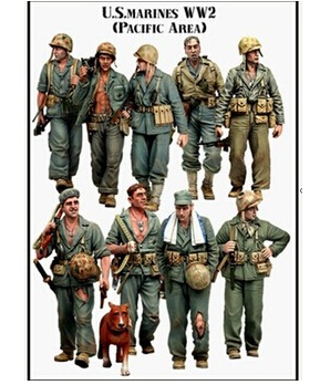 Scale Models 1/35 WW2 American WWII Pacific Theater Marines * 9 WWII Resin Model Free Shipping<br><br>Aliexpress