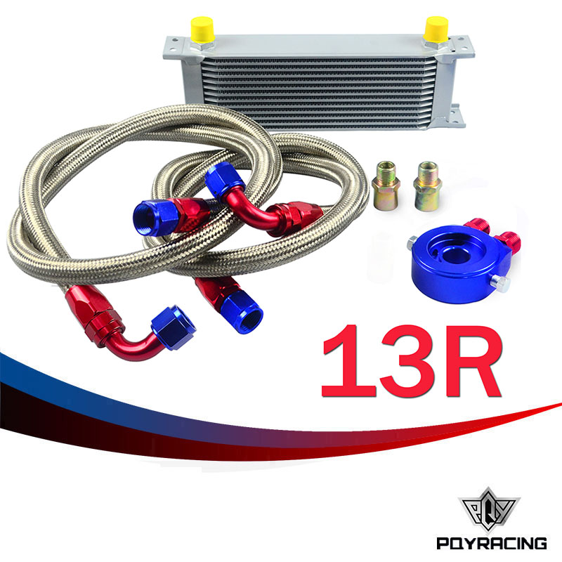 PQY STORE-AN10 OIL COOLER KIT 13RWOS TRANSMISSION OIL COOLER SILVER+OIL FILTER ADAPTER BLUE + STAINLESS STEEL BRAIDED HOSE(China (Mainland))