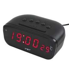 New Black Large Screen Led Car Electronic Clock With Thermometer