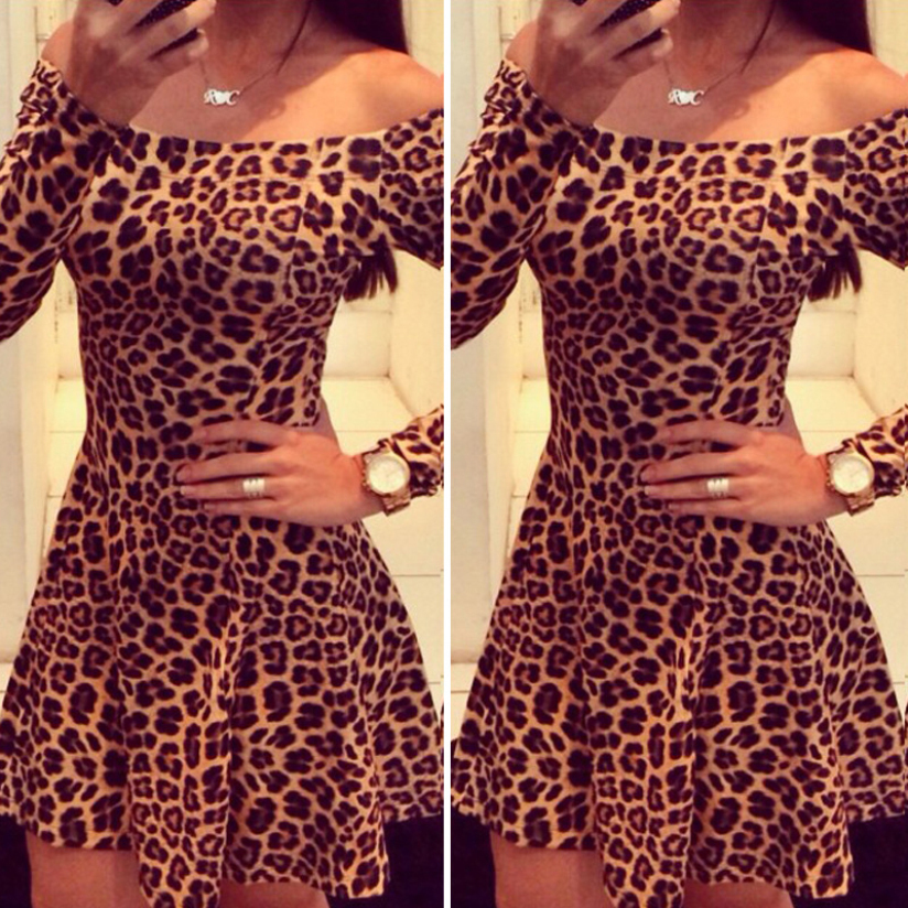 Hot Marketing New Fashion Women Long Sleeve Leopard Cocktail Bodycon Dress Party Dress Jul16(China (Mainland))