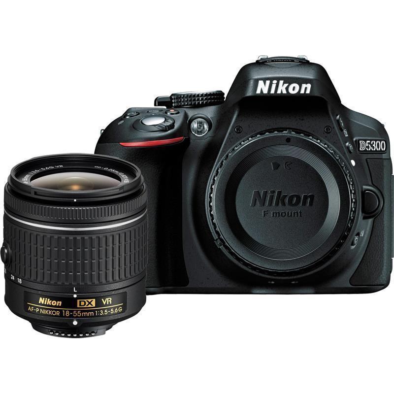 Nikon D5300 24.2MP Black DSLR Camera Body & AF-P DX 18-55mm f/3.5-5.6G VR Lens(Hong Kong)