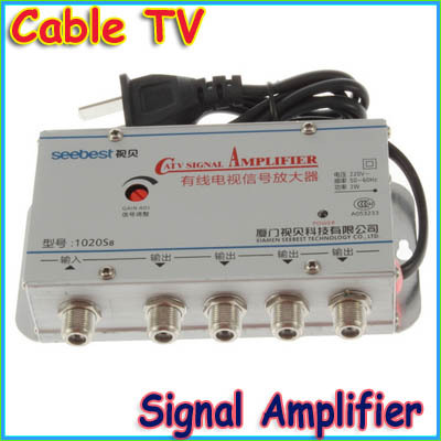 1 pcs CATV Cable TV Signal Amplifier AMP Video Booster Splitter, AC220V 50Hz 2W us plug(China (Mainland))