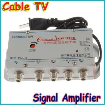 1 pcs CATV Cable TV Signal Amplifier AMP Video Booster Splitter, AC220V 50Hz 2W us plug(China (Mainland))
