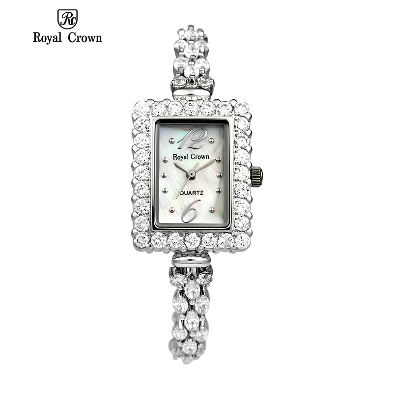 Royal Crown 3805 Italy Brand MIYOTA Switzerland Diamond Classic retro square Watch women ladies bracelet relogio feminino
