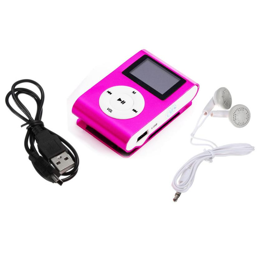 Binmer Good Sale Metal Clip Digital MP3 Player mini LCD Screen support for 2/4/8/16GB TF Card + Earohone + Data cable Jun 10(China (Mainland))