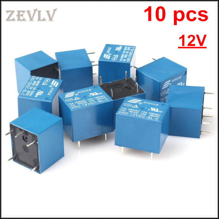 HOT Free Shipping 10 PCS/lot High Quality 5 Pins RELAY 12V DC Coil Power Relay PCB < SRD-12VDC-SL-C Type In stock(China (Mainland))