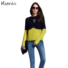 Ksenia sweaters pullover patchwork hit color sweater woman slim jumper warm Western style 2017 casual new sweater sueter mujer(China (Mainland))