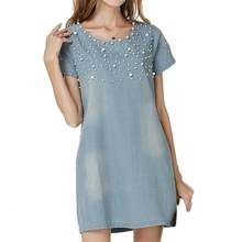 Buy Plus Size 4XL Casual Jeans Sundress Women's Denim Dress vestidos feminina Summer Style Beaded Party Dresses LL2 for $8.08 in AliExpress store