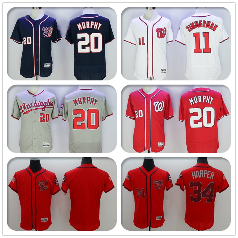 2016 New Fabric Mens Flexbase 20 Daniel Murphy 34 Bryce Harper Jersey Color Red Blue Gray White Memorial Day Jerseys(China (Mainland))