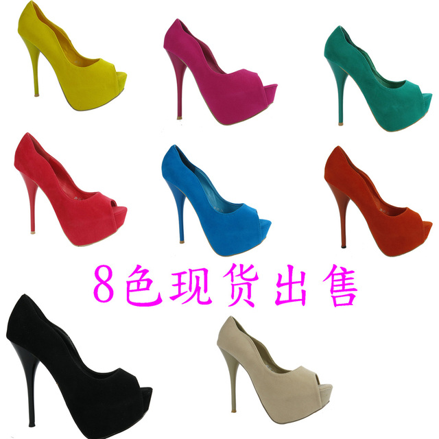 2012 Free shipping Newest design sexy stiletto fish mouth high heels shoes lady's pump peep toe sandals drop ship brand name