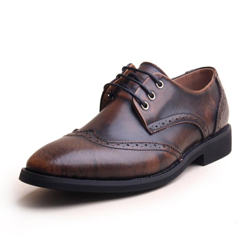Genuine Leather Men Dress Shoes Brown Black Oxford Shoes For Men Leather Flat Men Shoes Oxford 2015(China (Mainland))