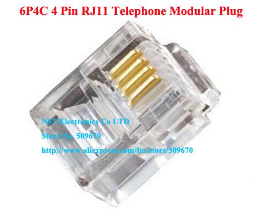 Free Shipping /1000pcs/High Quality 6P4C RJ11 Telephone Modular Plug Jack Adapter Connector New(China (Mainland))