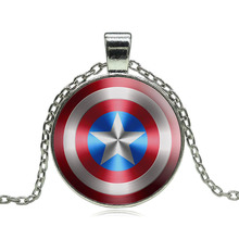 Glass Cabochon Pendant Necklace Movie Captain America Art Image Silver Statement Chain Necklace for Women fine jewelry