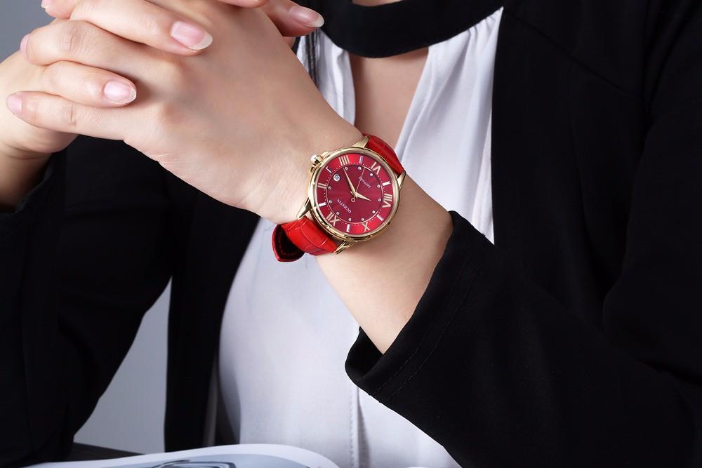 Мода Сапфир Кварцевые Часы Женщины Роскошный Кожаный Вскользь Платья женские Часы Часы Женские mujer reloje 2016 montre femme
