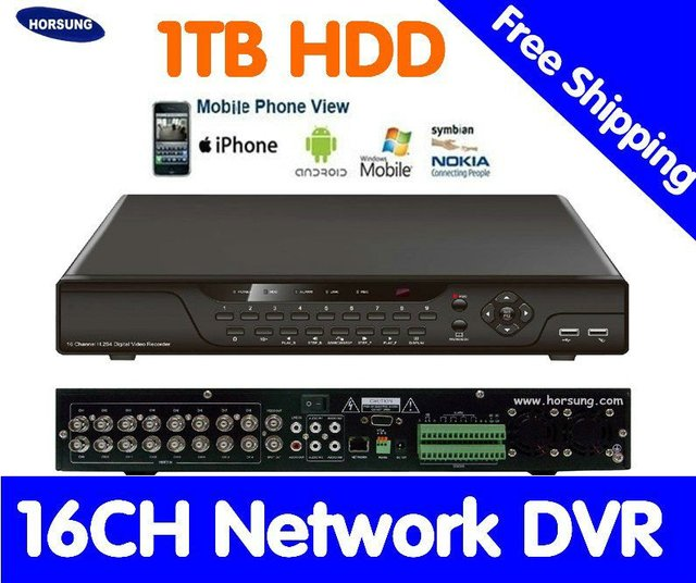 Free shipping 16ch Standalone DVR with video playback, Monitoring on Mobile Phones 1000GB HDD  HT-7016V
