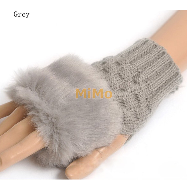 Fashion Cute Faux Rabbit Fur Hand Winter Warmer Knitted Fingerless Gloves Mitten 10 colors(China (Mainland))