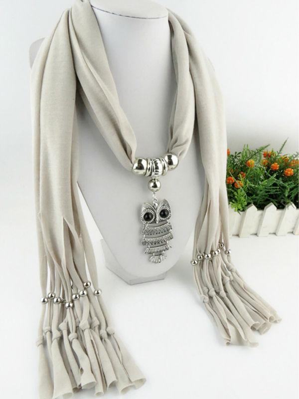 women winter autumn collier scarf necklace&pendants owl bird animal vintage maxi scarf choker soild color black  jewelry new