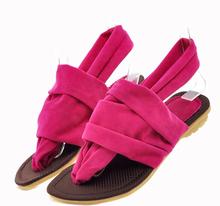 women sandals 2015 Vintage Summer Flat Sandals Flock Rome Women's Shoes Belt Clip Flip-flop Shoes 4 colors zapatos mujer XWZ1264(China (Mainland))