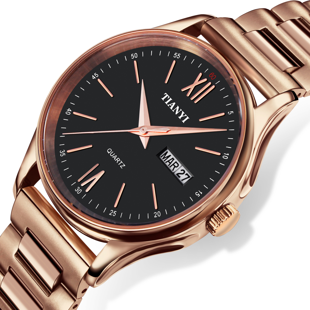 Dc1989 Full Stainless Steel Ionic Rose Gold Plated Men Business Wrist Watch Quartz Japan 2105 High Polished Crystal watch