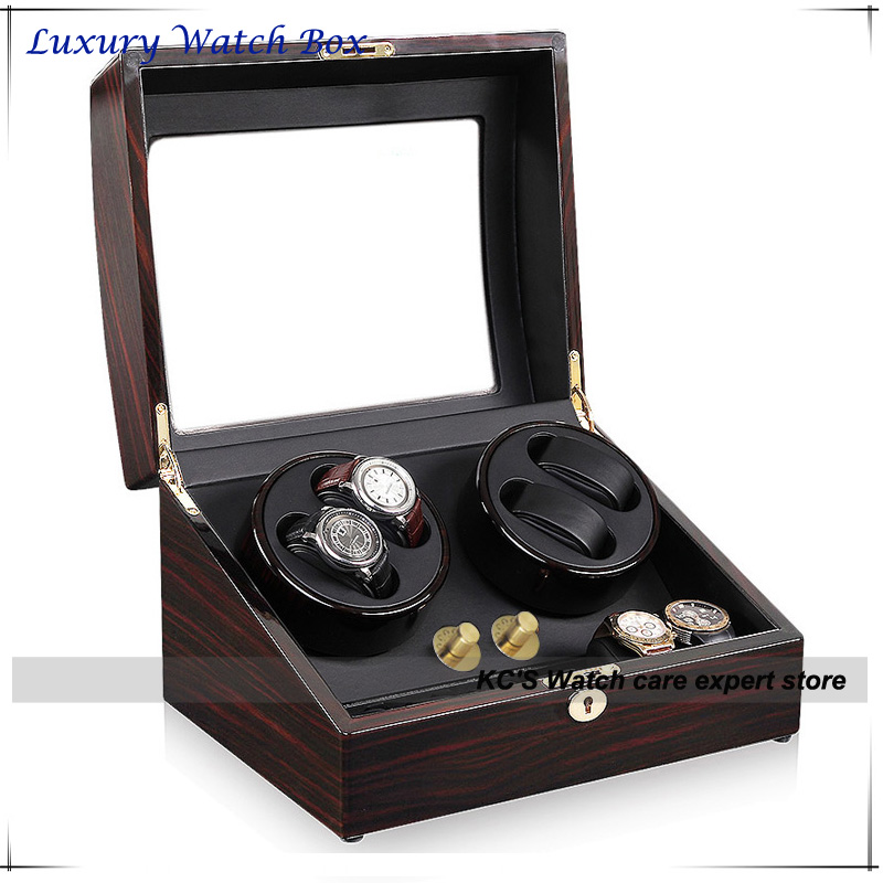 4 Quality Automatic Watches Winder Wood 4+ 6 Storage Slots Great Gift Box for Leader & Boss GC03-D31EB(China (Mainland))