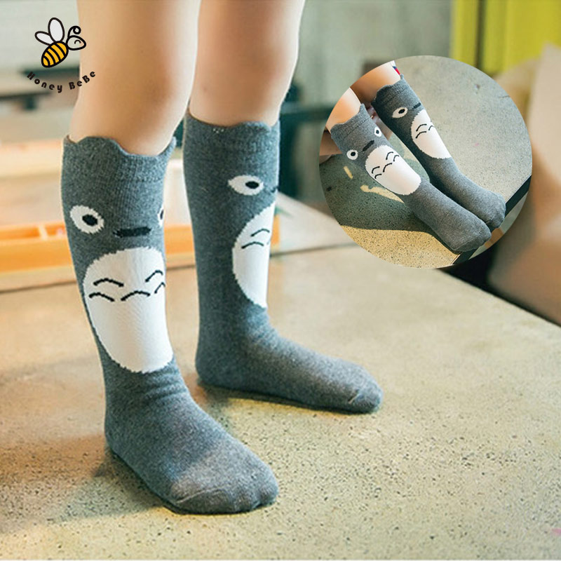 Cartoon Cute Girls Socks Print Animal Cotton Kids Socks Knee High Long Girl Clothing Accessories Totoro Fox Socks Chaussette