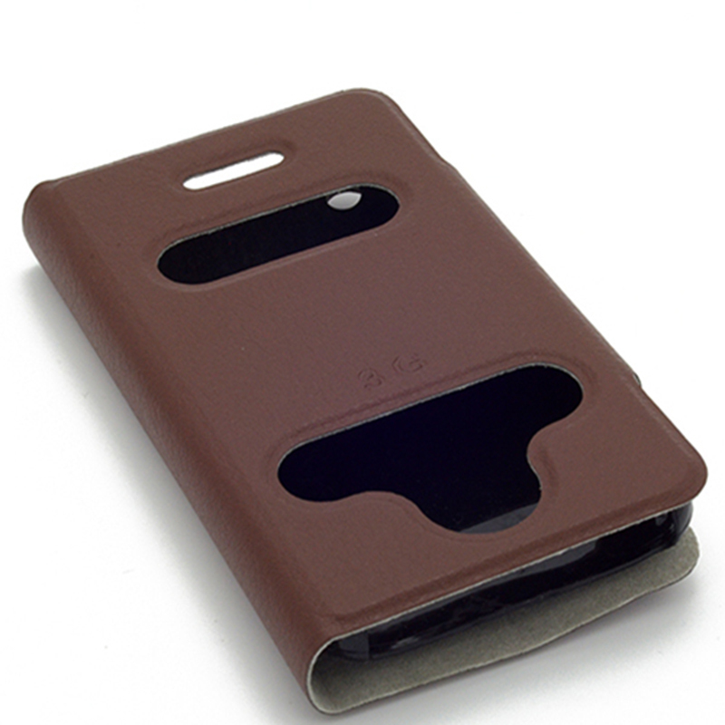 Caller Call ID Display Double Open Window View Case For iPhone 3 3S 3G 3GS Iphone3 Flip Leather Mobile Phone Cover With Stand(China (Mainland))