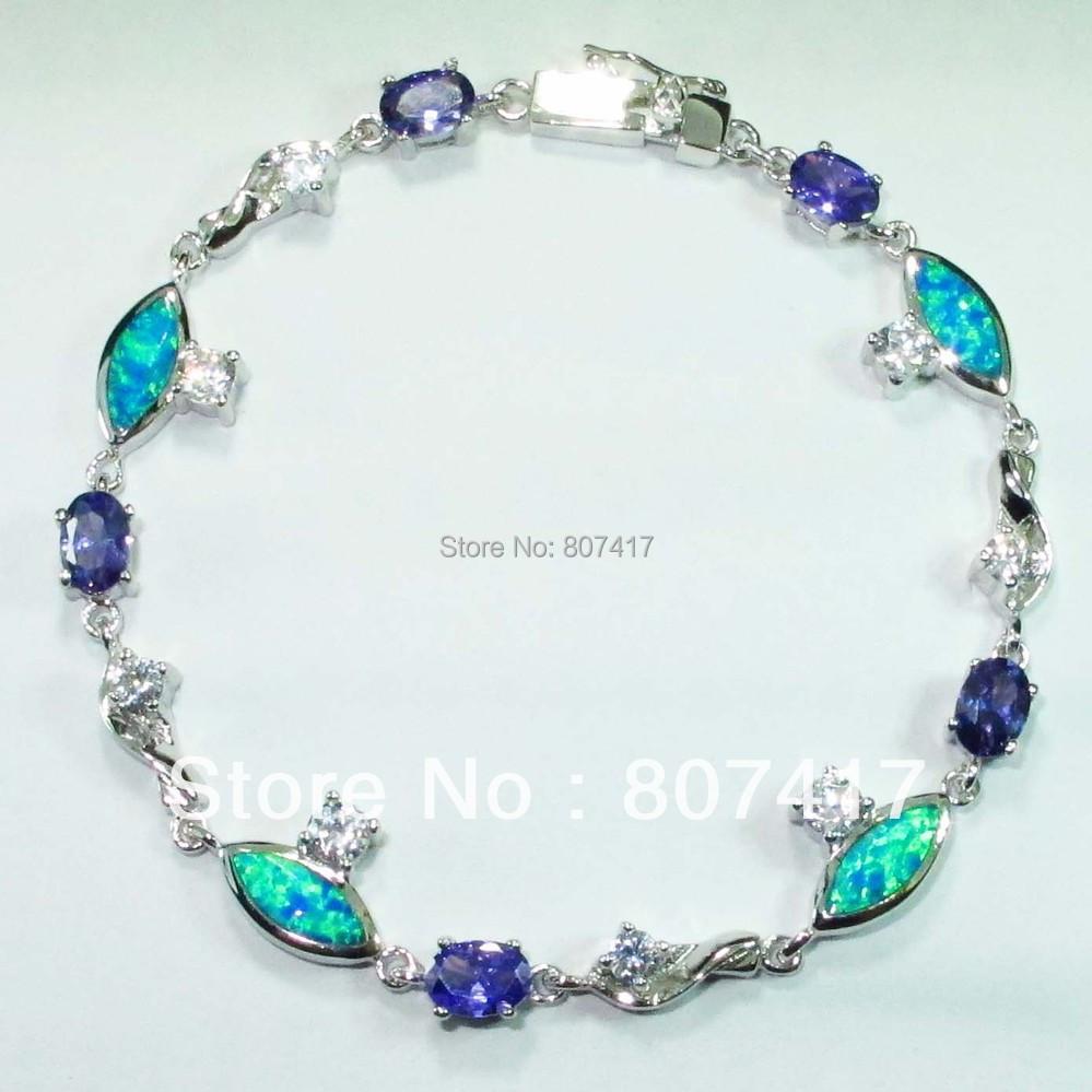 White Crystal  Amethyst Crystal and Blue opal Trendy S 925 silver Fashion Bracelet  B1728<br><br>Aliexpress