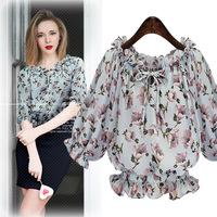 Free shipping 2016 new summer printing chiffon blouse rufflebottom women shirts tops half chiffon top