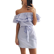 Buy 2017 Fashion Bandage Party Beach Dresses Sexy Ruffles Slash Neck Mini Dress Women Striped Dress Summer Vestidos Mujer Plus size for $6.93 in AliExpress store