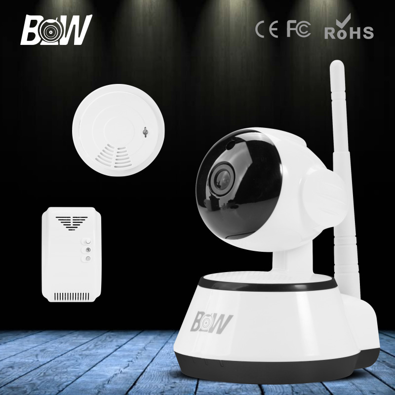 BW Wireless IP Camera Portable with SD Card Slot Plug Play WIFI Surveillance Security CCTV Home Sensor Detector Alarm GSM Webcom(China (Mainland))