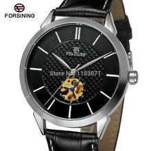 2015 Discount watch Forsining kol saati with black dial leather luxury design for men silver case