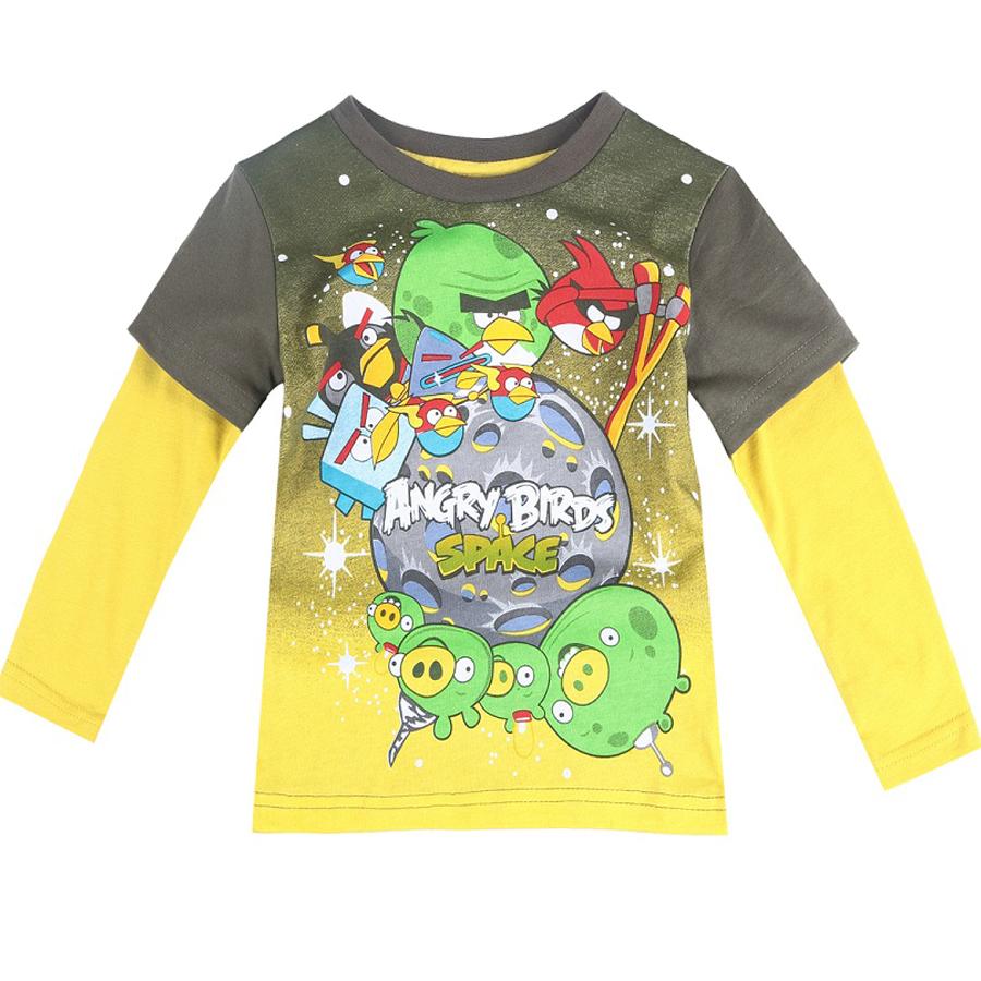 Top quality boys clothing baby kids tops 2015 nova fashion meninos 100% cotton boy's long sleeve cartoon birds t shirt(China (Mainland))
