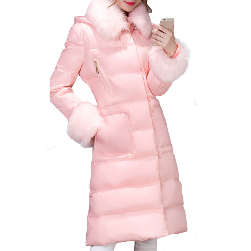 Winter Jacket Women Parka 2015 Long Knee-High Hooded Faux Fur Collar Slim Zipper Single Breasted Coat Manteau Femme WWY320