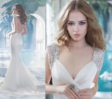 2017 Best Selling Sexy Cap Sleeve Mermaid V-neck Modest Bridal Gowns Swarovski Crystal Beaded Backless Vintage Wedding Dresses(China (Mainland))