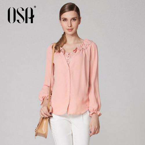 Promition OSA mulheres moda Chiffon camisa com folhos Long Neck Sleeve Lace blusa Casual Tops SV33211(China (Mainland))