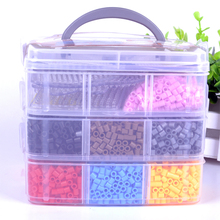 1 set/lot  3 Layers Perler/hama Beads Funny  Pegboards With Clear box  Children Educational Toys Perler Beads Jigsaw puzzle
