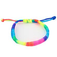 Delicate Hot! fashion Women Retro bangles Vintage Adjustable Rainbow Fluorescent Colors Woven Bracelet Ju27(China (Mainland))