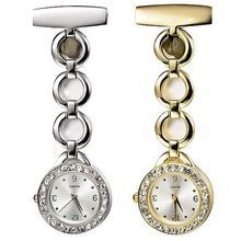 New Womens Lady Pocket Watches Rhinestone Stainless Steel Quartz Brooch Gold Siver White Colors Nurse Watch Crystal Jewely Watch(China (Mainland))